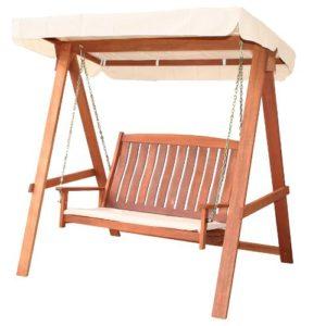Dondolo da giardino in legno tropicale con cuscino arredo for Arredo giardino in legno